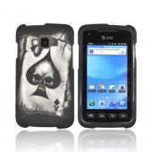 Samsung Rugby Smart i847 Rubberized Hard Case - Ace Skull on Black