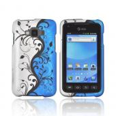 Samsung Rugby Smart i847 Rubberized Hard Case - Black Vines on Blue/ Silver