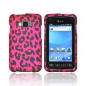 Samsung Rugby Smart i847 Rubberized Hard Case - Hot Pink/ Black Leopard