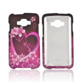 Samsung Rugby Smart i847 Rubberized Hard Case - Hot Pink/ Purple Flowers &amp; Heart