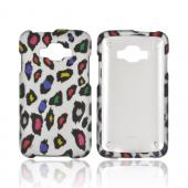 Samsung Rugby Smart i847 Rubberized Hard Case - Colorful Leopard on Silver
