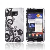 AT&amp;T Samsung Galaxy S2 Rubberized Hard Case - Black Flowers &amp; Vines on Gray