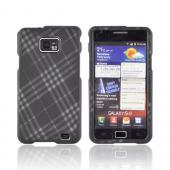 AT&amp;T Samsung Galaxy S2 Rubberized Hard Case - Gray Plaid on Black