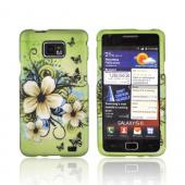AT&amp;T Samsung Galaxy S2 Rubberized Hard Case - Hawaiian Flowers on Green