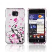AT&amp;T Samsung Galaxy S2 Rubberized Hard Case - Pink Flowers &amp; Black Vines on Gray