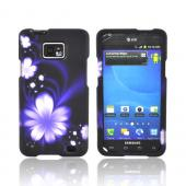 AT&amp;T Samsung Galaxy S2 Rubberized Hard Case - Purple Flower on Black