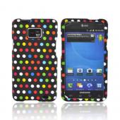 AT&amp;T Samsung Galaxy S2 Rubberized Hard Case - Rainbow Polka Dots on Black
