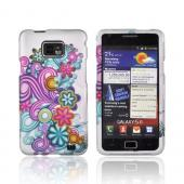 AT&T Samsung Galaxy S2 Rubberized Hard Case - Turquoise/ Purple flower Burst