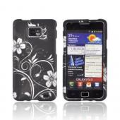 AT&amp;T Samsung Galaxy S2 Rubberized Hard Case - White Flowers on Black
