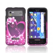 Samsung Captivate Glide i927 Rubberized Hard Case - Hot Pink/ Purple Flowers &amp; Hearts