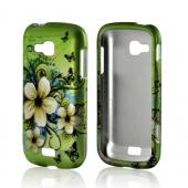 White Hawaiian Flowers on Green Rubberized Hard Case for Samsung ATIV Odyssey