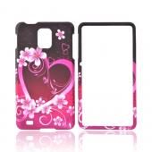 Samsung Infuse i997 Rubberized Hard Case - Pink Hearts & Flowers