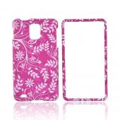 Samsung Infuse i997 Rubberized Hard Case - White Leaves & Vines on Pink