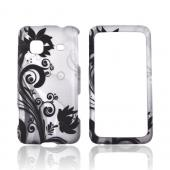 Samsung Galaxy Prevail M820 Rubberized Hard Case - Black Flower & Vines on Silver