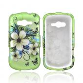 Samsung Galaxy Reverb Rubberized Hard Case - White Hawaiian Flowers on Green