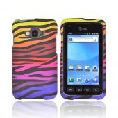 Samsung Rugby Smart i847 Rubberized Hard Case - Rainbow Zebra on Black