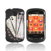 Samsung Brightside Rubberized Hard Case - Black/ White Aces w/ Laurel Leaf Imprint