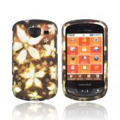Samsung Brightside Rubberized Hard Case - Yellow/ Gold Flowers on Espresso Brown