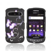 Samsung Rookie R720 Rubberized Hard Case - Purple Butterflies on Black