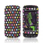Samsung Sidekick 4G Rubberized Hard Case - Rainbow Polka Dots on Black