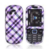 Samsung Gravity 3 T479 Rubberized Hard Case - Checkered Pattern of Purple, Silver, Black