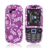 Samsung Gravity 3 T479 Rubberized Hard Case - Floral Design on Purple