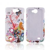 Samsung Exhibit 2 4G Rubberized Hard Case - Rainbow Autumn Floral Burst on White