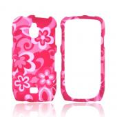 Samsung Exhibit T759 Rubberized Hard Case - Pink Flowers on Pink