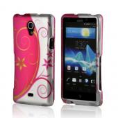 Hot Pink/ Silver Vines &amp; Flowers Rubberized Hard Case for Sony Xperia TL