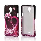 Hot Pink/ Purple Flowers &amp; Heart Rubberized Hard Case for Sony Xperia TL