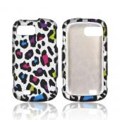 ZTE Fury N850 Rubberized Hard Case - Colorful Leopard on Silver