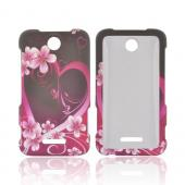 ZTE Score Rubberized Hard Case - Hot Pink/ Purple Flowers &amp; Heart