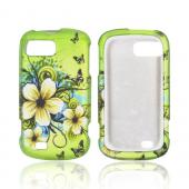 ZTE Fury N850 Rubberized Hard Case - White Hawaiian Flowers on Green