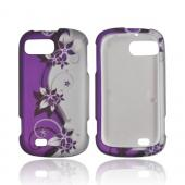 ZTE Fury N850 Rubberized Hard Case - Purple Vines/ Flowers on Silver