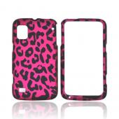 ZTE Warp Rubberized Hard Case - Hot Pink/ Black Leopard