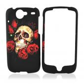 Google Nexus One Rubberized Hard Case - Rose Skull on Black - Rose Skull on Black