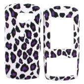 LG Lyric MT375 Rubberized Hard Case - Purple/Black Leopard Print on White