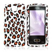 LG Expo GW820 Rubberized Hard Case - Orange/Black Leopard Print on White