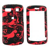 LG Xenon GR500 Rubberized Hard Case - Red Swirl Designs on Black
