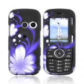 LG Cosmos VN250/Rumor 2 Rubberized Hard Case - Purple Flower on Black