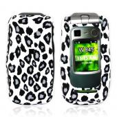 Motorola Quantico W845 Rubberized Hard Case - Grey/Black Leopard Print on White