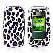 Motorola Quantico W845 Rubberized Hard Case - Purple/Black Leopard Print on White