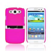 Samsung Galaxy S3 Rubberized Hard Back Case w/ Chrome Kickstand - Pink