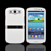 Samsung Galaxy S3 Rubberized Hard Back Case w/ Chrome Kickstand - White