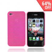 Apple iPhone 4 Back Cover Hard Case, Perforated Texture - Hot Pink
