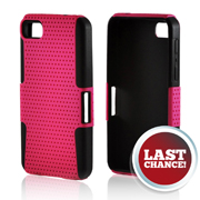 Hot Pink Mesh on Black Silicone Hybrid Case for BlackBerry Z10