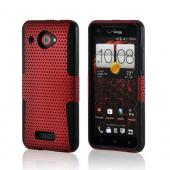 Red Mesh on Black Rubberized Hard Case Over Silicone for HTC Droid DNA