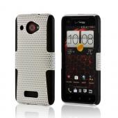 White Mesh on Black Rubberized Hard Case Over Silicone for HTC Droid DNA
