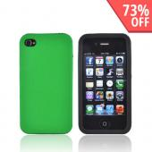 Luxmo Apple Verizon/ AT&amp;T iPhone 4, iPhone 4S Rubberized Hard Case w/ Silicone Case - Green/Black