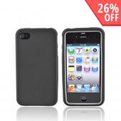 AT&amp;T/Verizon Apple iPhone 4, iPhone 4S Rubberized Hard Case over Silicone - Black/Gray